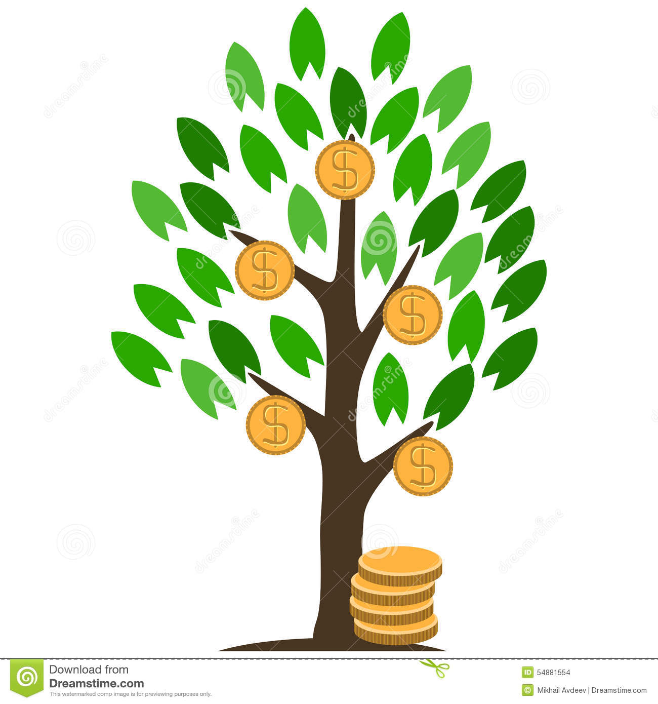 Money Tree With Coins. Stock Vector.