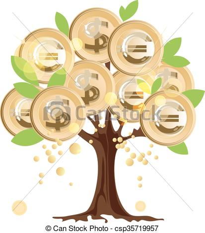 Clipart Vector of Money tree with coins.