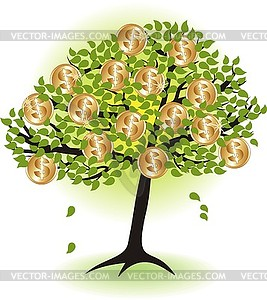 Money tree.with dollar coins.