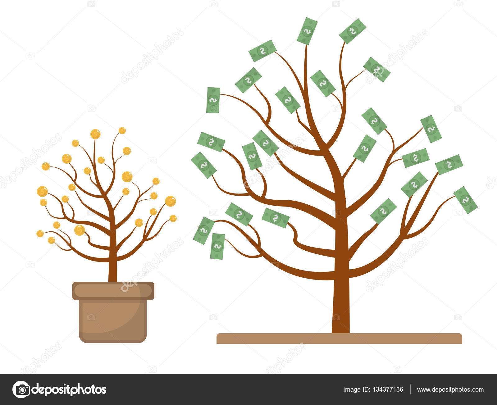 Tree with money. Coins and dollars. Evolution, growth, progressive.