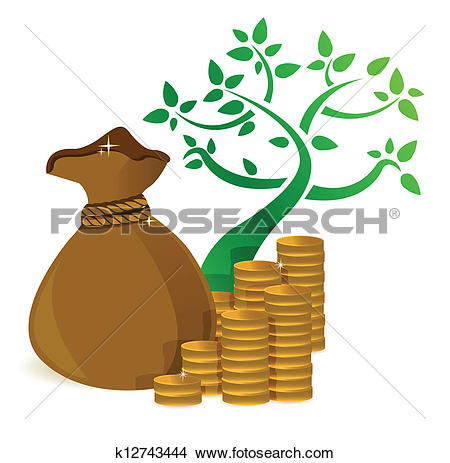 Clipart of tree profits growing and gold coins k12743444.
