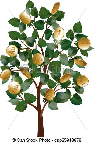 Vectors Illustration of Money tree with leaves and gold coins.