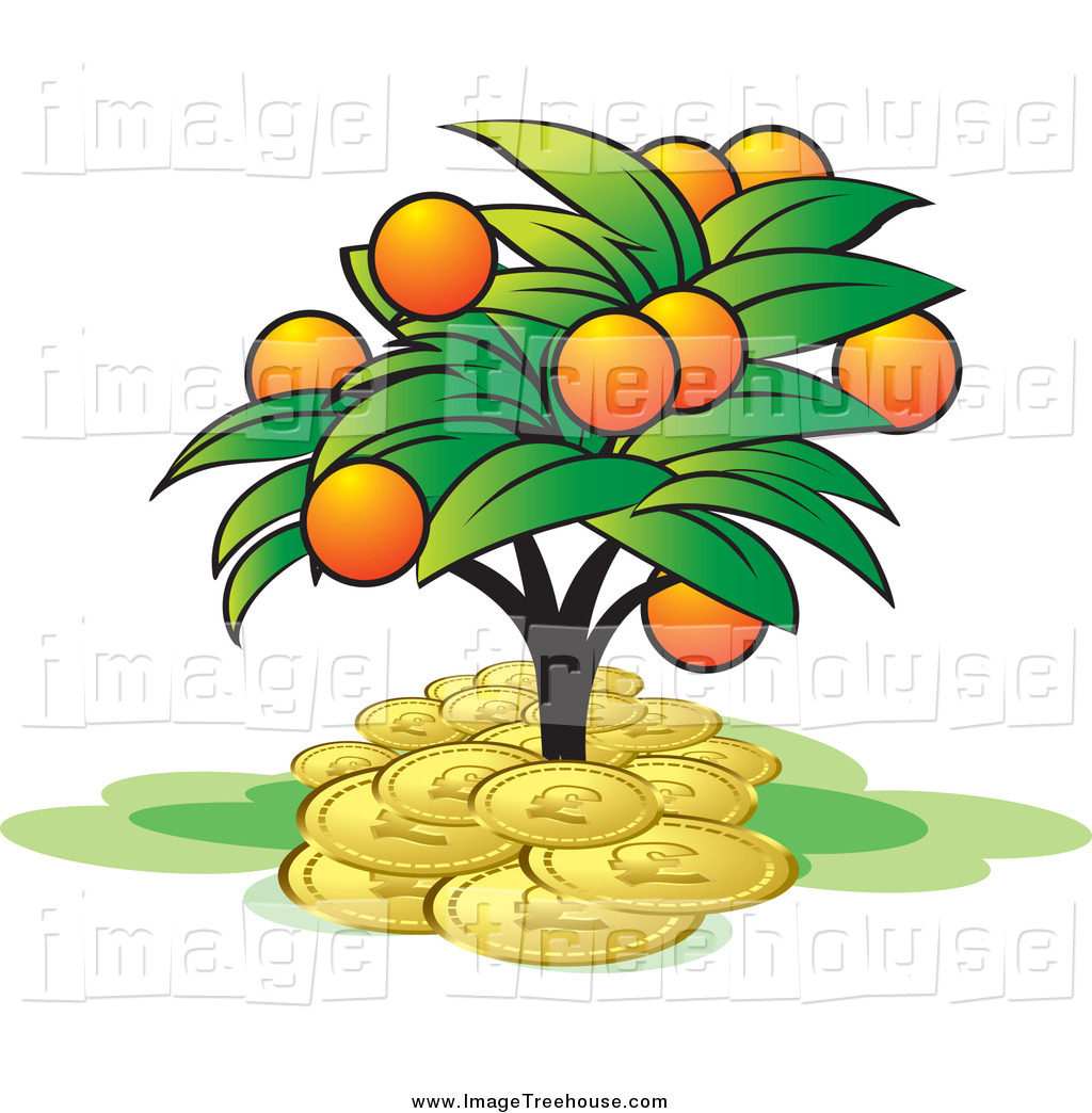 Clipart of an Orange Fruit Tree Growing in a Pile of Coins by Lal.