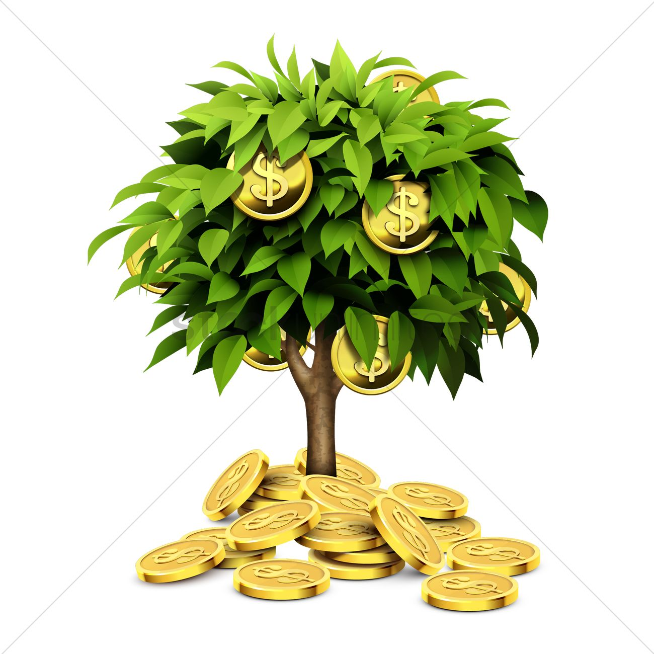 Gold coins tree Vector Image.