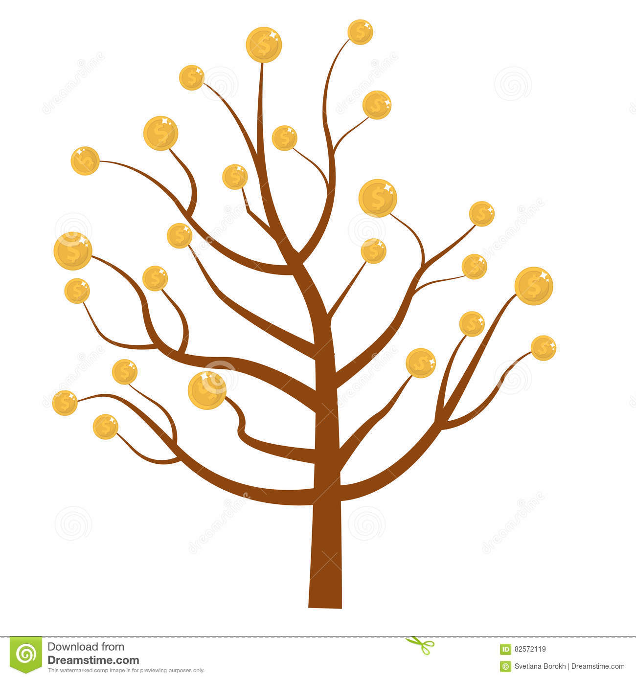 Tree With Money. Coins. Flat Design, Isolated White Background.
