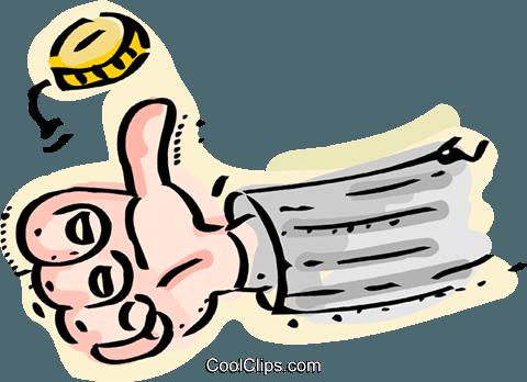 Coin Toss Royalty Free Vector Clip Art illustration.