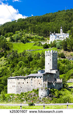 Picture of Monte Maria Abbey and castle near Burgusio, Trentino.