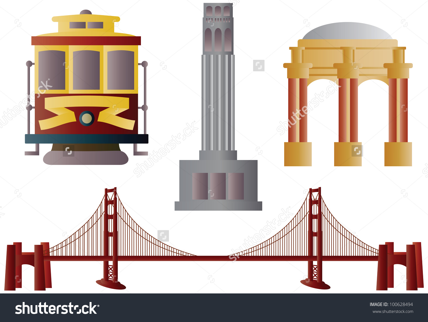 San Francisco Golden Gate Bridge Trolley Stock Vector 100628494.