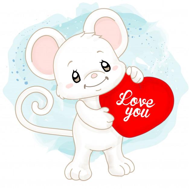 Lindo ratón blanco acuarela con cojín de corazón.