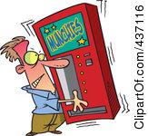Clipart Soda Vending Machine Mascot Inserting A Coin.