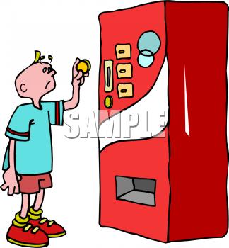 A Boy Using A Soda Machine Clipart Image.