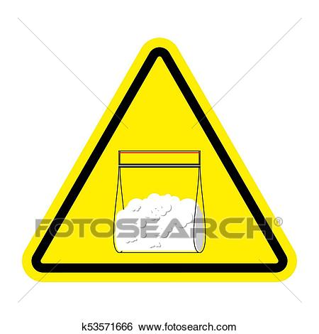 Attention sign Drugs. Cocaine plastic bag isolated. Vector.