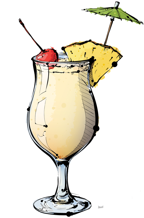 Cocktails clipart pina colada glass, Cocktails pina colada.