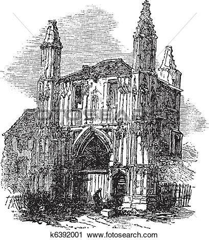Clipart of Colchester Abbey, in Essex, England, vintage engraving.