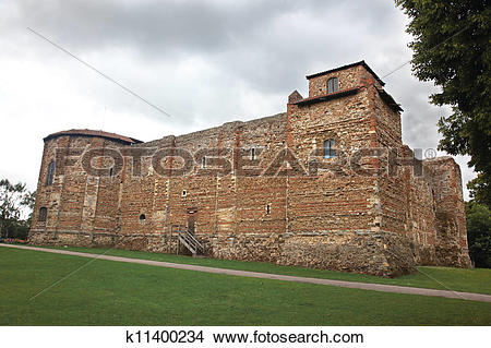 Stock Photo of Old castle in Colchester 11th century Norman, UK.