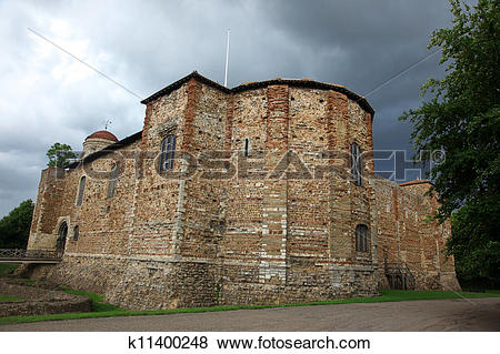 Pictures of Old castle in Colchester 11th century Norman, UK.