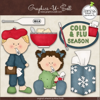 Cold And Flu Season 1 ClipArt Graphic Collection.