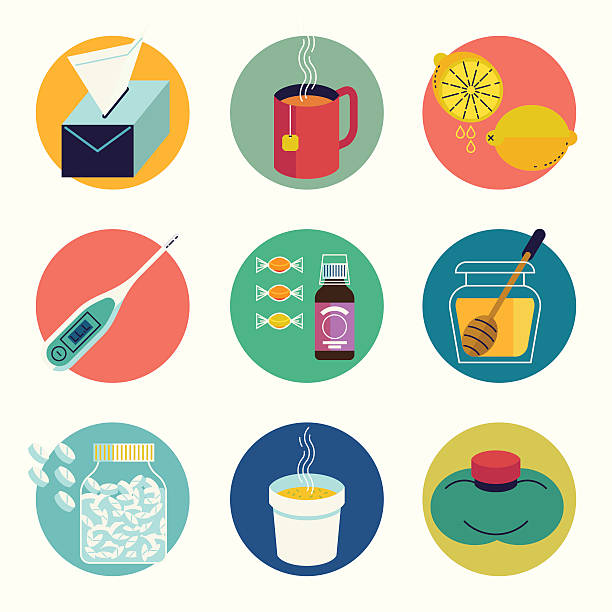 Cool set of cold and flu season round web icons » Clipart.