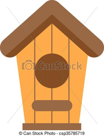 Vector Clip Art of Handcrafted wooden hut with roof for birds.