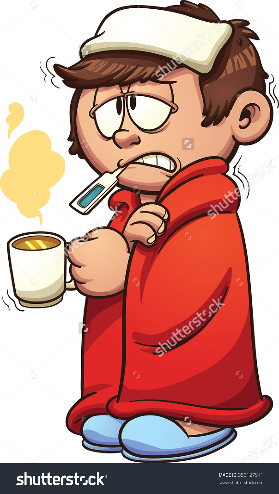 Sick with a cold clipart.