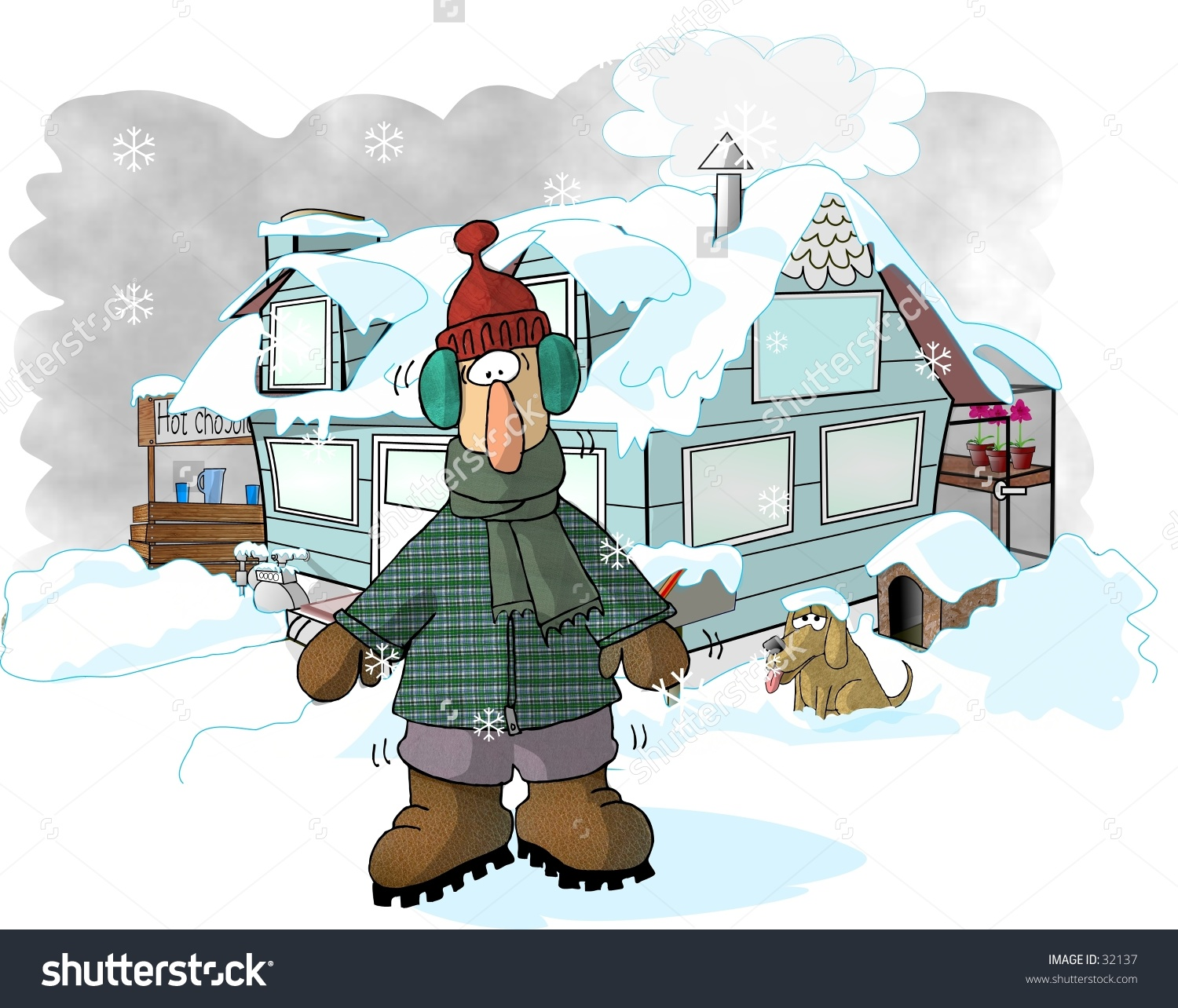 Clipart of cold house.