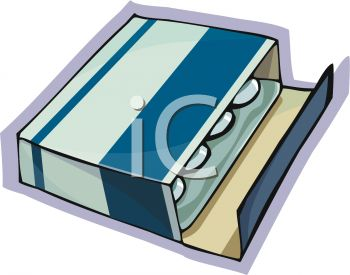 Royalty Free Clip Art Image: Box of Cold Medicine Tablets.