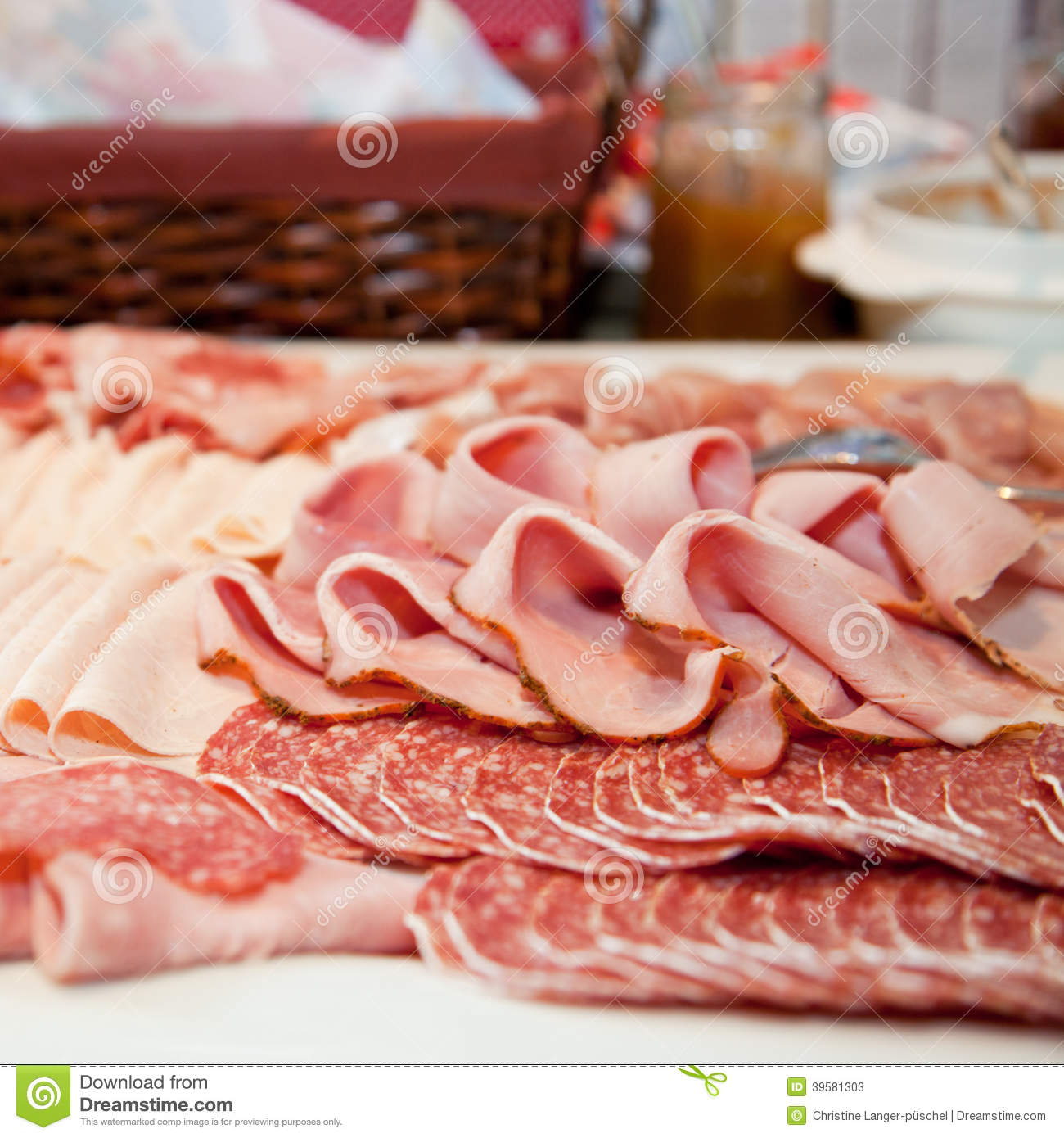 Cold Meat Buffet Stock Images.