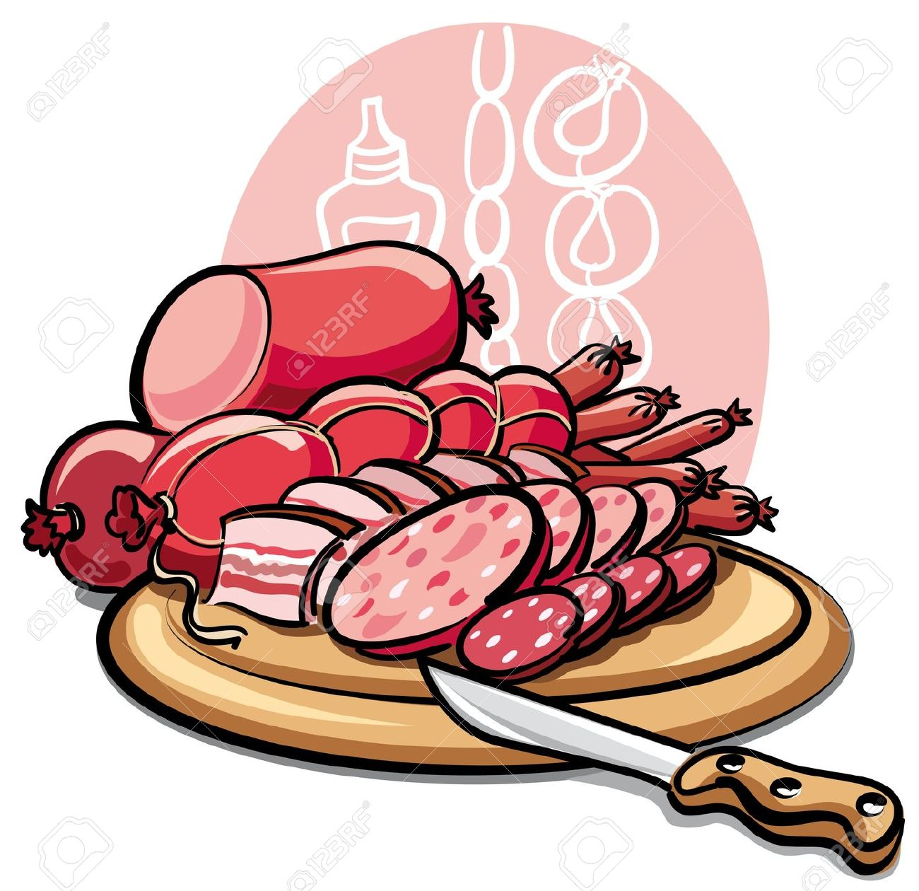 Sausages And Ham Royalty Free Cliparts, Vectors, And Stock.