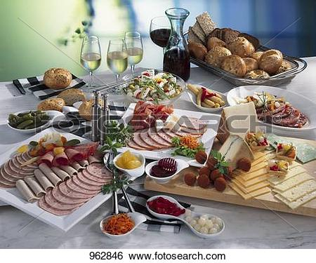 Stock Images of Cold buffet: cold cut platter, cheese, salad.