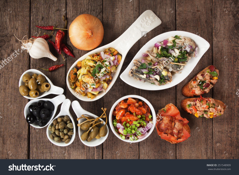Tapas Antipasto Food Mediterranean Cold Buffet Stock Photo.