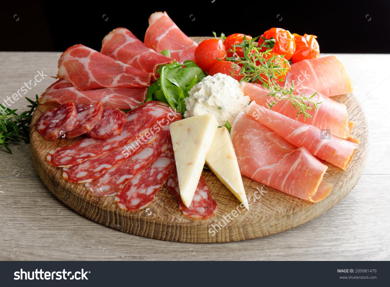 Arrangement Delicatessen Cold Cuts Smoked Ham Stock Photo.