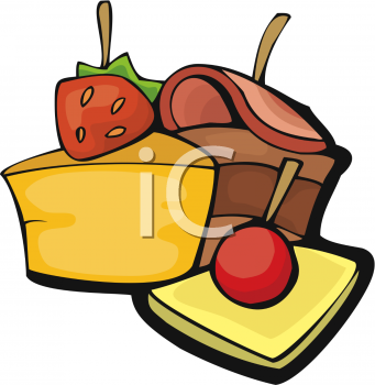 Food Clip Art of Cold Cuts and Cheese.