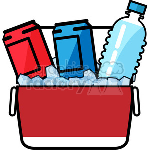 ice cold drinks in a cooler icon clipart. Royalty.