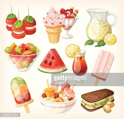 Set of cold sweet summer food Clipart Image.
