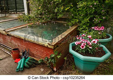 Stock Image of Gardeners cold frame.