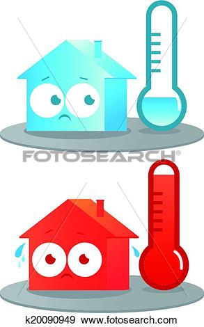 Clip Art of Hot and cold house k20090949.