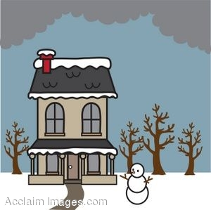 Clipart Picture of a House in the Winter.