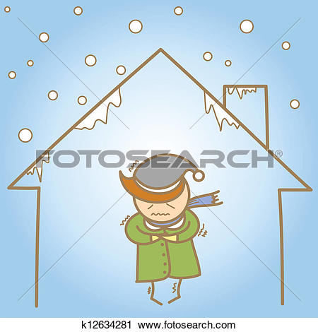 Clipart of cartoon character of man in the cold house k12634281.
