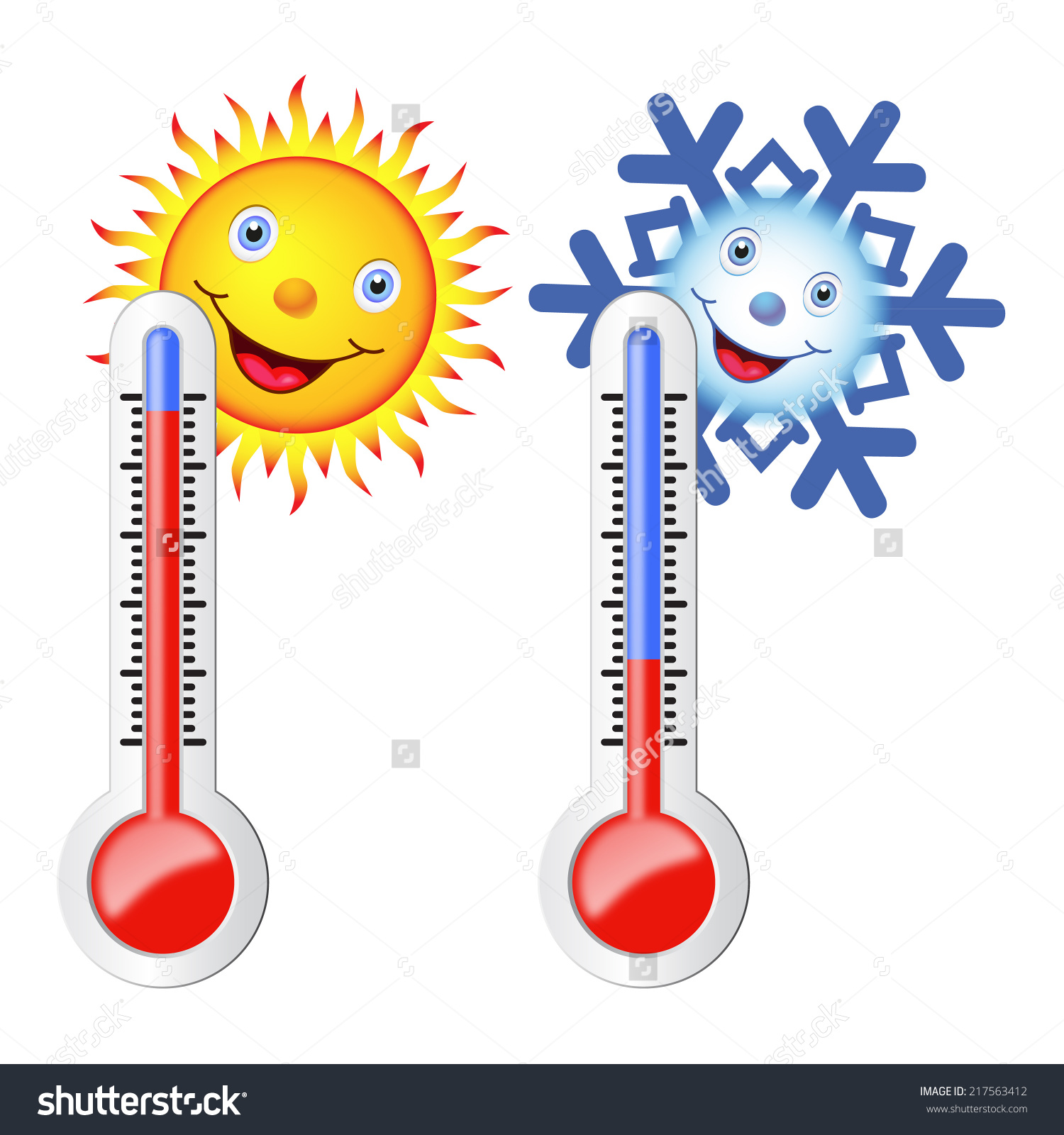 Hot and cold temperature clipart.