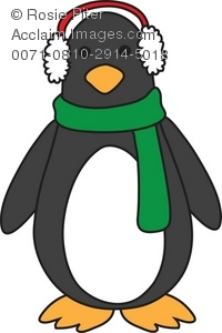 Freezing Cold Penguin in Ear Muffs Royalty Free (RF) Clip Art Picture.