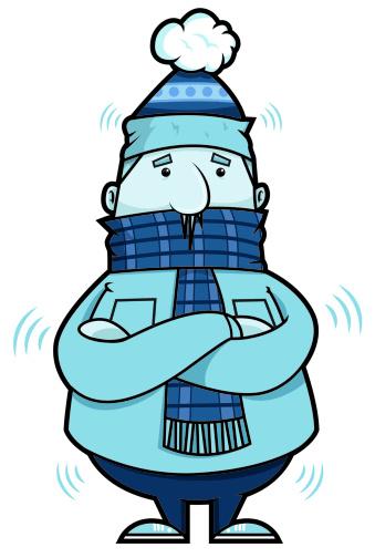 Shivering cold person clipart.