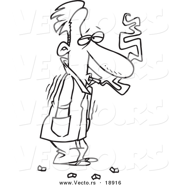 Vector of a Cartoon Cold Man Shivering in His Jacket and Smoking.