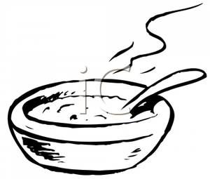 Bowl Of Stew Black And White Clipart.