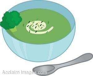Clip Art Of A Bowl Of Cream Of Broccoli Soup.