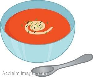 Clip Art Of A Bowl Of Tomato Soup.