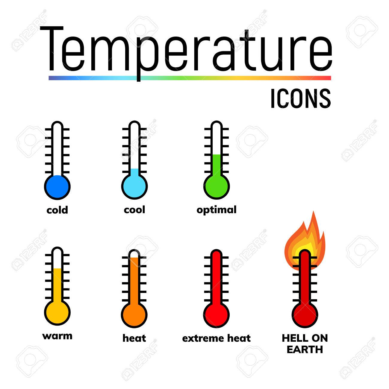 Temperature icons set, vector clip arts. Narrow.