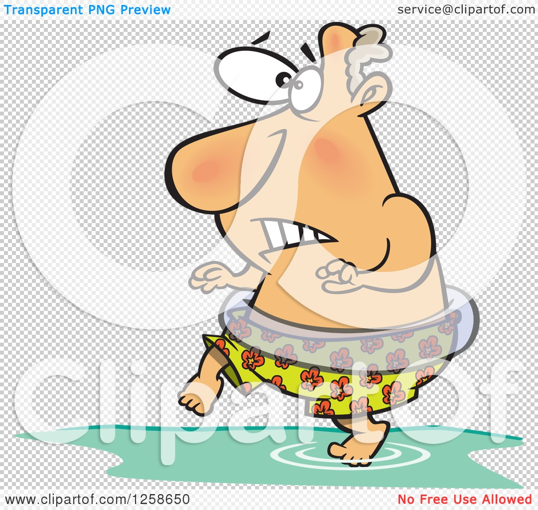 Clipart of a Cartoon Caucasian Man Stepping in Cold Water.
