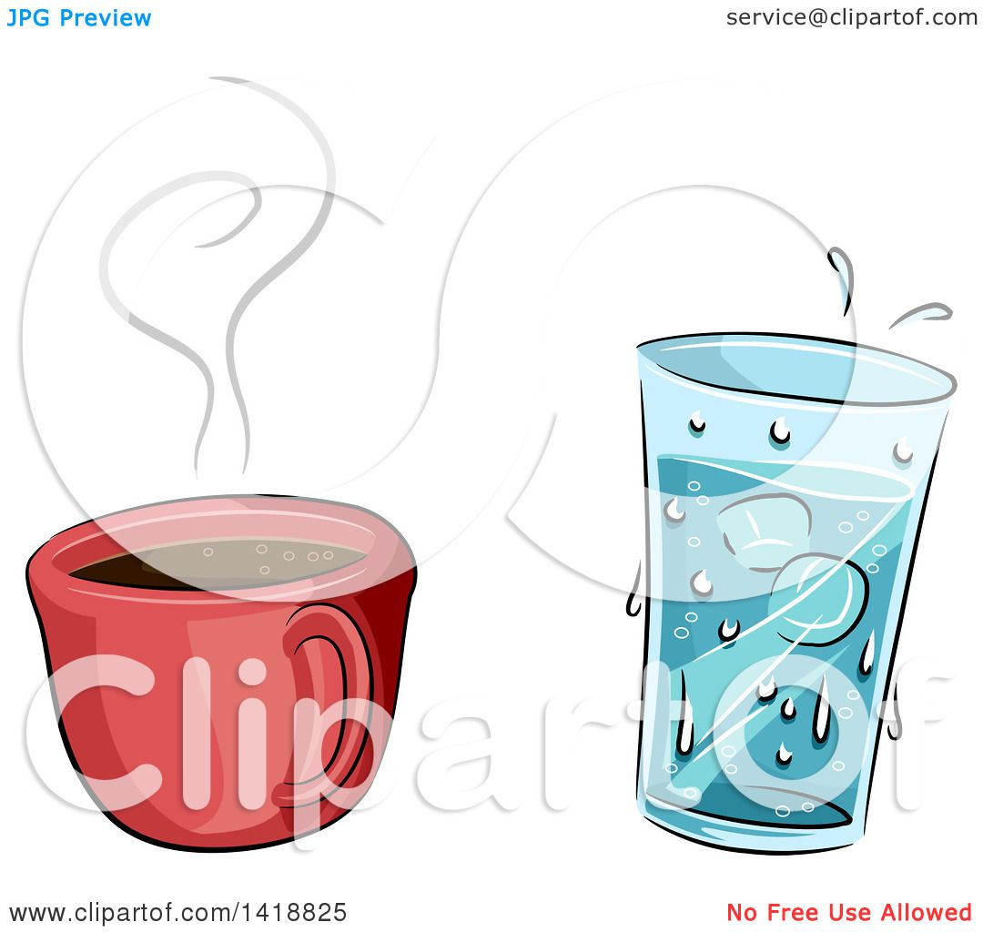 Clipart of a Cup of Hot Coffee and Cold Water.