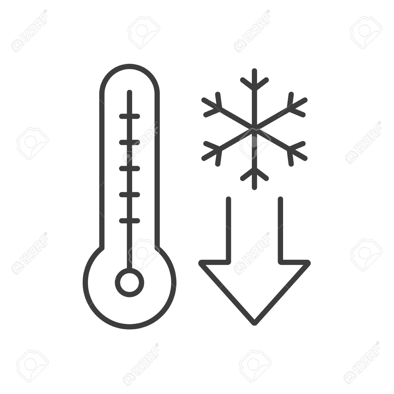 Temperature falling linear icon. Thin line illustration. Thermometer...