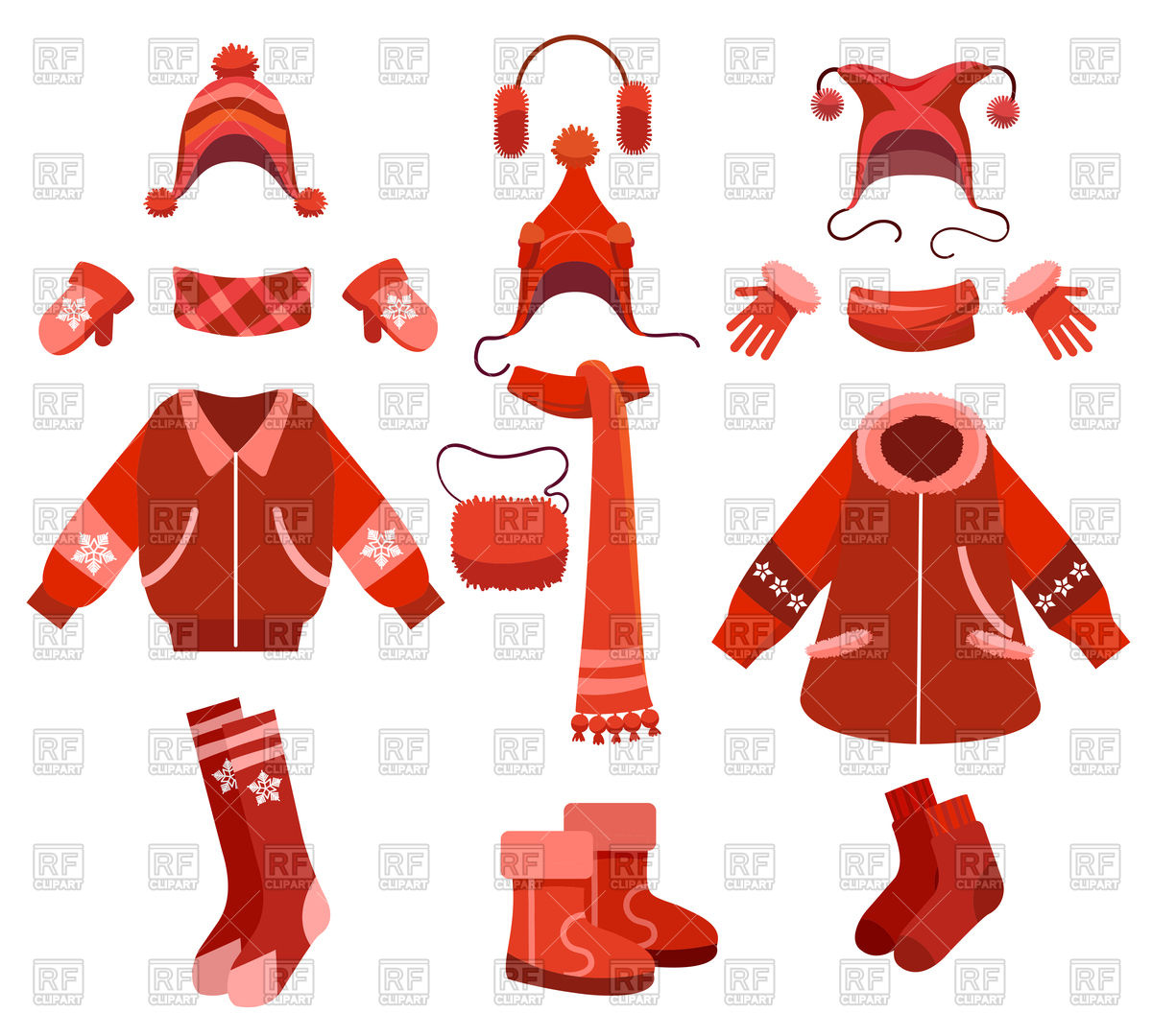 Cartoon woman winter clothes and female cold weather accessories Stock  Vector Image.